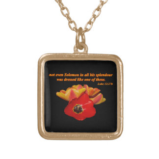 luke 12:27b and bright tulips gold plated necklace