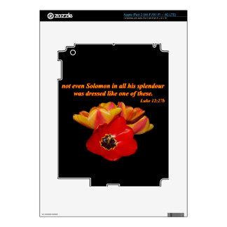 luke 12:27b and bright tulips iPad 3 decal