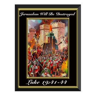 Luke 19:41-44 Jerusalem Will Be Destroyed Black Postcard