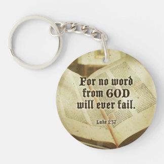 Luke 1:37 (NIV) vintage Bible quote keychain