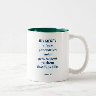 Luke 1: 50 Two-Tone coffee mug