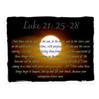 Luke 21:25-28 verses with Moon Postcard