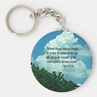 Luke 21:28 Look up!  Your redemption draws near. Basic Round Button Keychain
