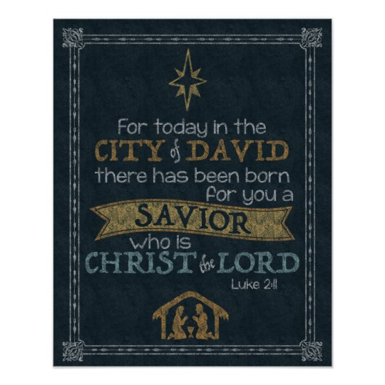 luke 2 11 chalkboard art 16x20 poster zazzle com