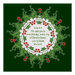 Luke 2:11 Scripture for Christmas with Holly Poster