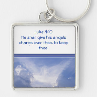 Luke 4:10, Angels watch over You, Encouragement Keychain