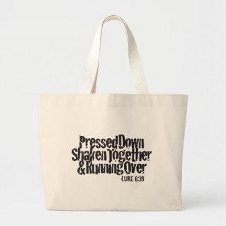 Luke 6:38 Black on White Bag