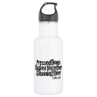 Luke 6:38 Black on White Stainless Steel Water Bottle
