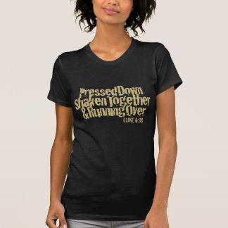 Luke 6:38 in Khaki on Black T-Shirt