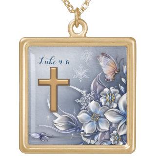 Luke 9:6 Necklace  polished gold finish