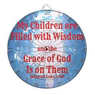 Luke Bible verse My children are filled with wisdo Dartboard With Darts