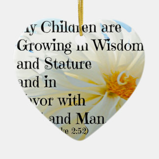 Luke Bible Verse My Children are growing in wisdom Double-Sided Heart Ceramic Christmas Ornament