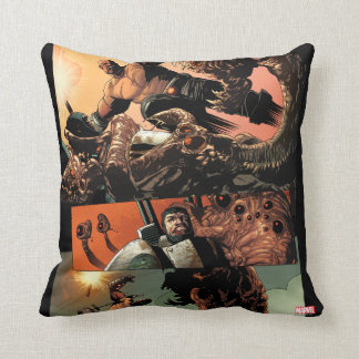 Luke Cage Fighting Aliens Throw Pillow