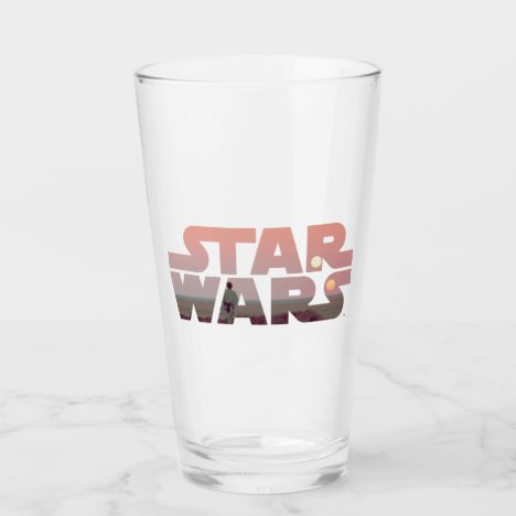 Luke Skywalker Tatooine Sunset Star Wars Logo Glass