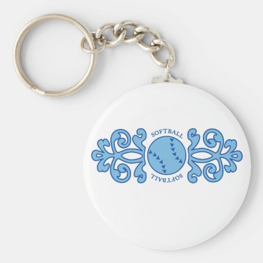 Lukean Softball Basic Round Button Keychain