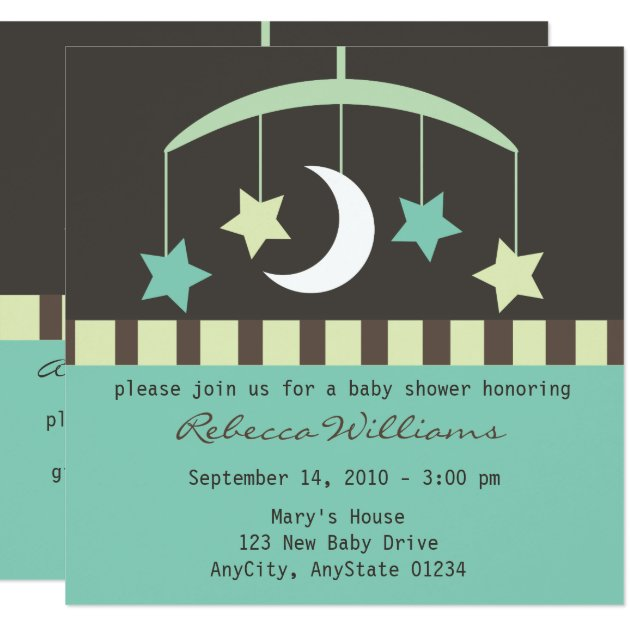 Lullaby Baby Stars and Moon Mobile Invitation | Zazzle