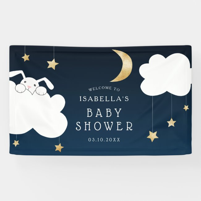 Lullaby Bunny Baby Shower Navy Gold Welcome Banner