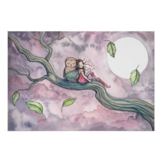 Lullaby on the Wind Faerie and Owl Poster