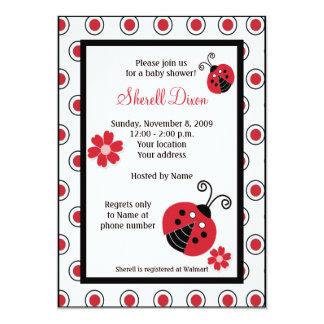 Lullabye Ladybug 5x7 Pink Trendy Invitations