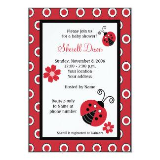 Lullabye Ladybug 5x7 Red Trendy Invitations