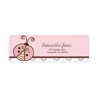 Lullabye Ladybug Trendy Pink Dot Address Label