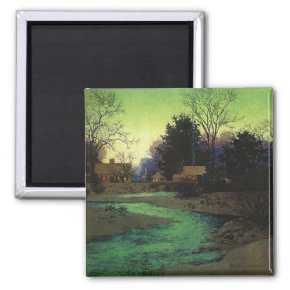 """Lullbrook in Winter"", by Maxfield Parrish 2 Inch Square Magnet"