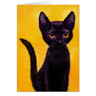 LuLu: portait of a small black cat Card