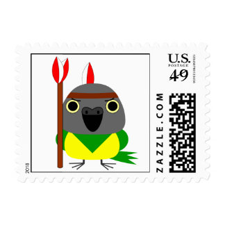 Lulu, the Senegal Parrot, Native American Indian Postage