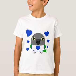 Lulu, the Senegal Parrot, with blue hearts T-Shirt