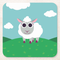Lulu the Sheep Square Paper Coaster