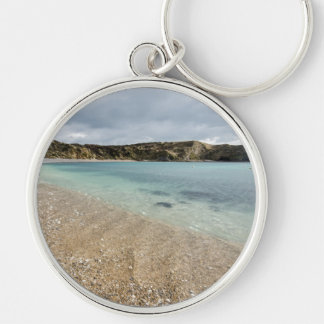 Lulworth Cove Silver-Colored Round Keychain