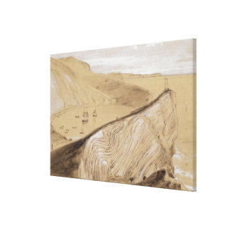 Lulworth Cove (w/c, gouache and graphite on beige Canvas Print