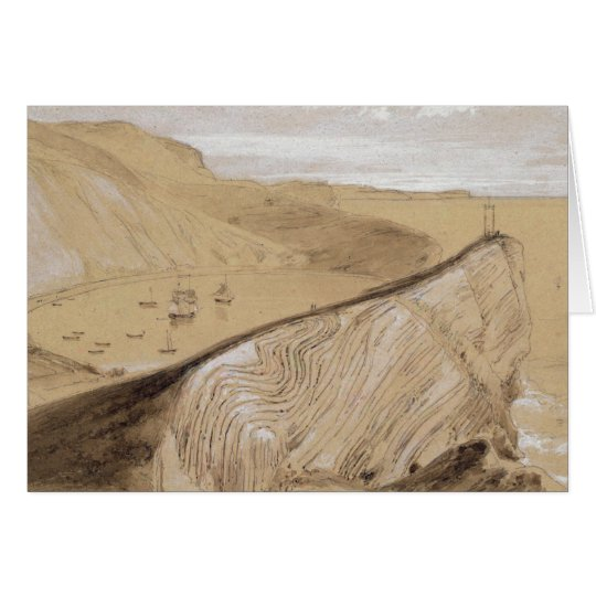 Lulworth Cove (w/c, gouache and graphite on beige Card