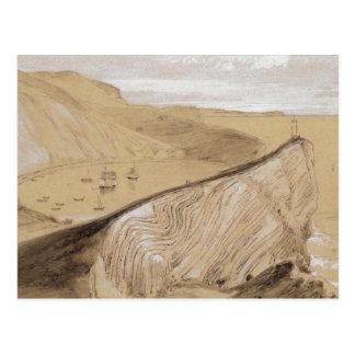 Lulworth Cove (w/c, gouache and graphite on beige Postcard
