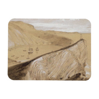 Lulworth Cove (w/c, gouache and graphite on beige Vinyl Magnets