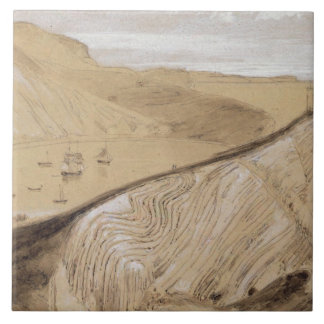 Lulworth Cove (w/c, gouache and graphite on beige Large Square Tile