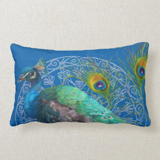 Lumbar Modern Painting Peacock Tail Feathers Blue Pillow