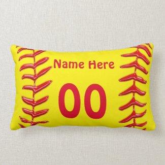 Lumbar Personalized Softball Throw Pillows