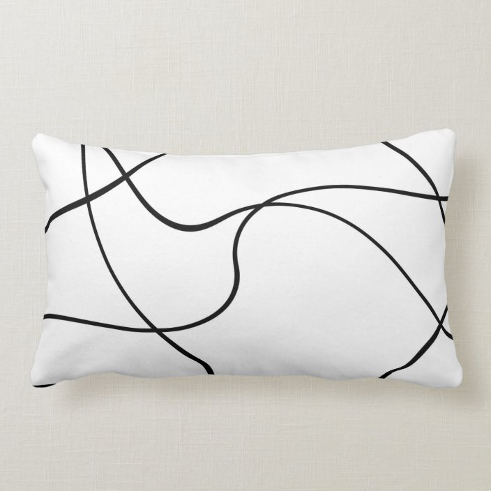 Lumbar Pillow Abstract Lines Black And White Zazzle Com