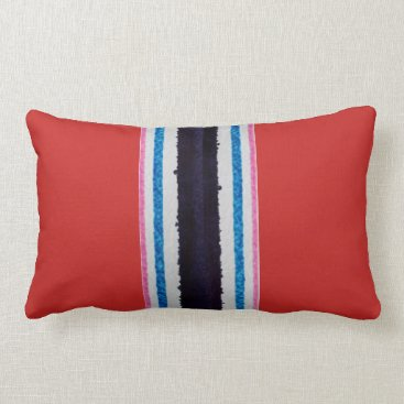 Beach Themed Lumbar pillow, poly, beach stripes, red lumbar pillow