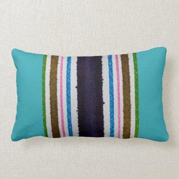 Beach Themed Lumbar pillow, poly, beach stripes, turq, plum lumbar pillow