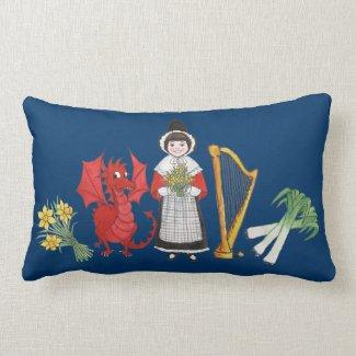 Lumbar Pillow: Welsh, Daffodils, Dragon Leeks Harp