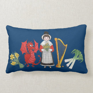 Lumbar Pillow: Welsh, Daffodils, Dragon Leeks Harp Lumbar Pillow
