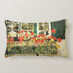 """""""Lumbar pillow with red geraniums in window box"""""""