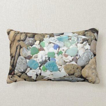 Beach Themed Lumbar Throw Pillow Designer Beach Seashells