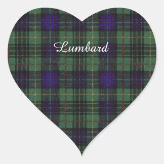 Lumbard clan Plaid Scottish kilt tartan Heart Sticker