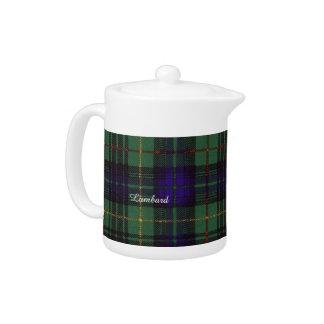 Lumbard clan Plaid Scottish kilt tartan Teapot
