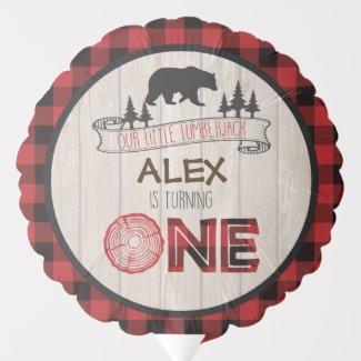 Lumberjack 1st Birthday Balloon - Bear ONE Custom