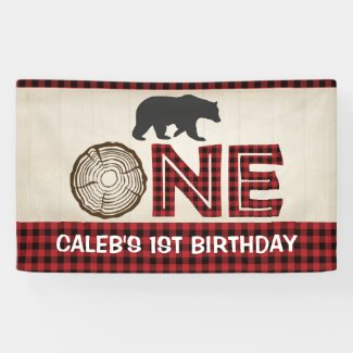 Lumberjack 1st Birthday Banner - Bear