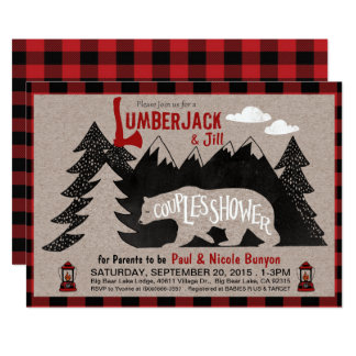 lumberjack and jill couples coed baby shower card